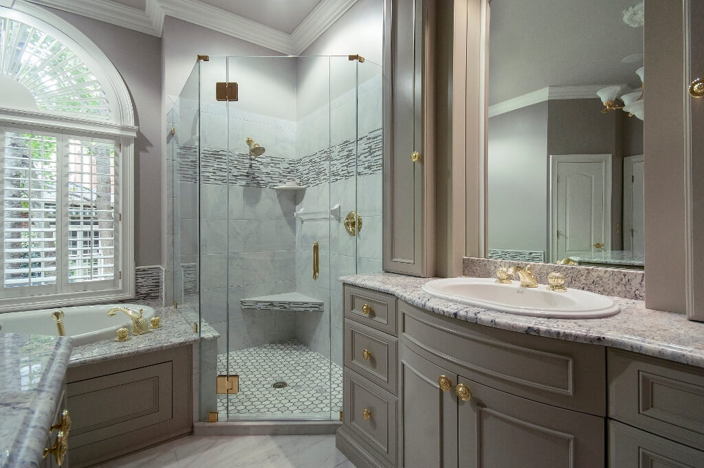 Gray Master Bathroom With Crown Molding