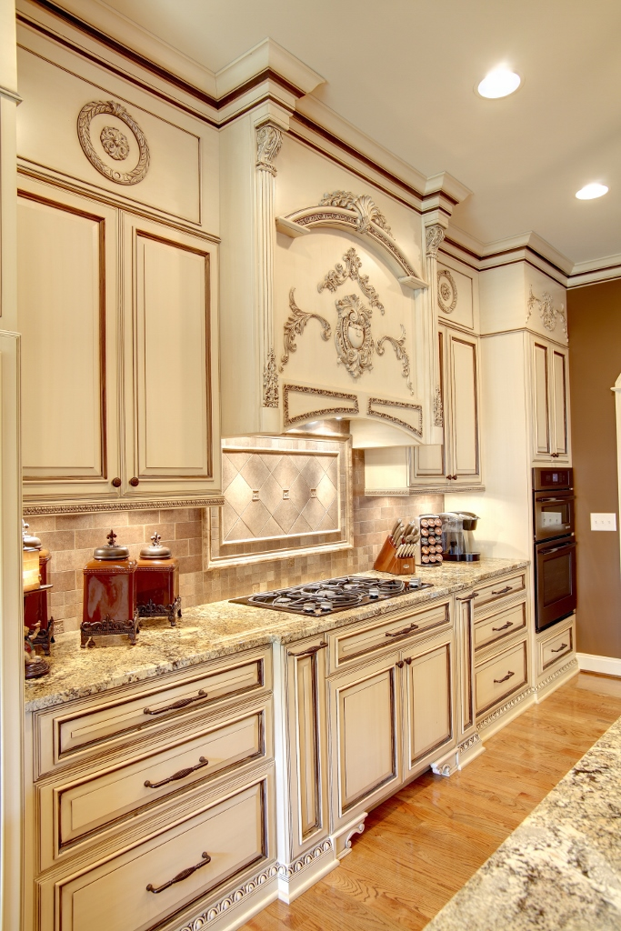 Regal Two Toned Kitchen With Appliques Custom Wooden Cabinets And Furniture